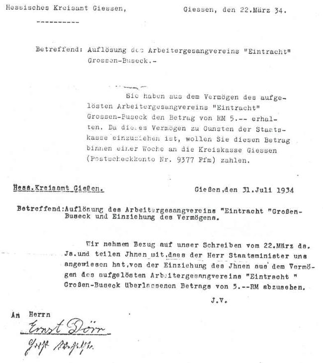 """Auflösung des Arbeitergesangvereins """"Eintracht"""", Mahnzettel"""