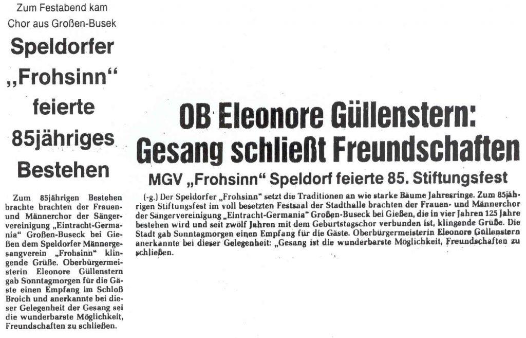 """Pressebericht des Empfangs der Sängervereinigung """"Eintracht-Germania"""" Großen Buseck im Schloss Broich durch die Oberbürgermeisterin der Stadt Mühlheim a. d. Ruhr Eleonore Güllenstern am 29. April 1984"""