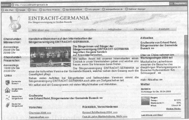 Ein Blick auf die Homepage der Sängervereinigung Eintracht-Germania, die gestern Abend freigeschaltet wurde