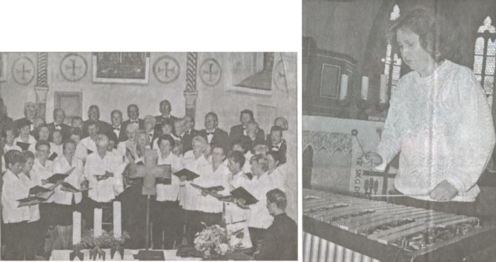 """Rechts: """"Es klingt ein Lied"""" sangen Männer und Frauen der Sängervereinigung Eintracht-Germania Großen-Buseck gemeinsam.Links: Dora Böttner lockerte die Chorbeiträge mit Darbietungen am Vibraphon auf.(Fotos: dob)"""