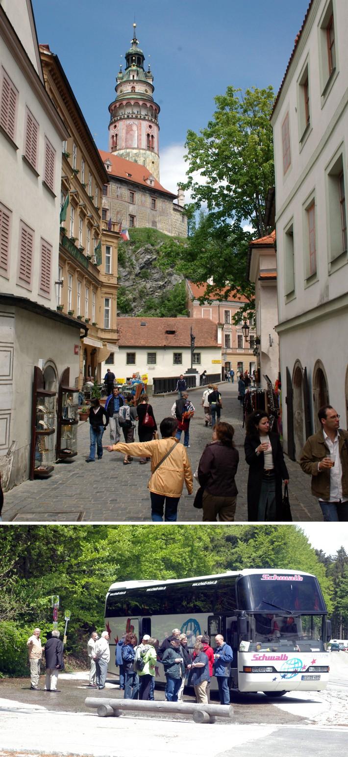 Bild oben: In den Straßen von KrumauBild unten: Rast am Arbersee