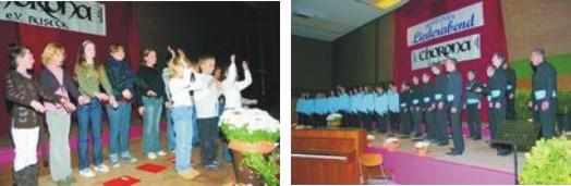 """Die junge Chorformation """"Chorona"""" richtete den 29. Busecker Liederabend in der Harbig-Halle in Alten-Buseck aus. Bilder: Launspach"""