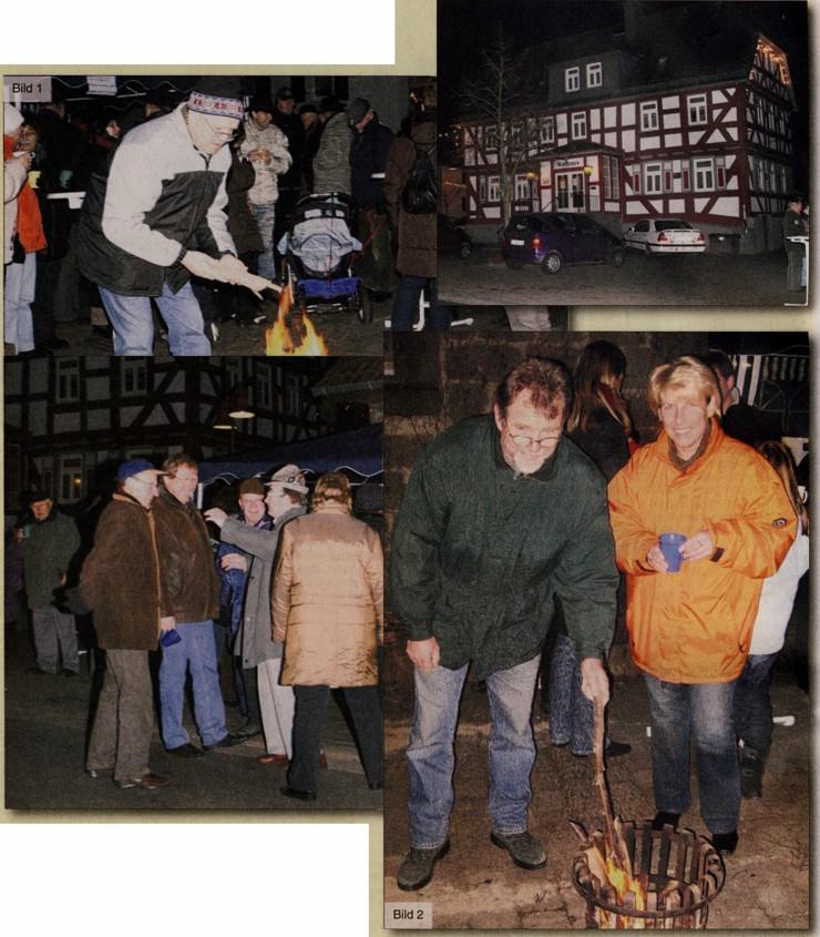 Ortwin Fink (Bild 1) und Ortsvorsteher Lothar Pfeiffer (Bild 2) sorgten für ein kleines wärmendes Feuerchen. Unsere Fotografin Siglinde Wagner wärmte sich derweil die Hände an einem Glühwein.