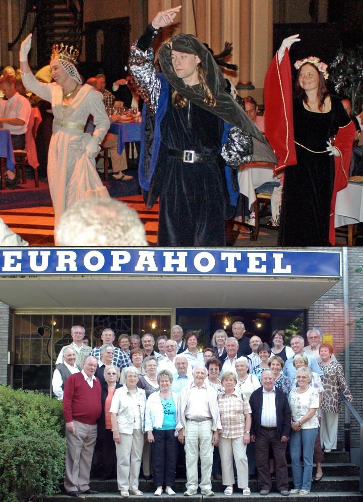 Bild oben: Herzog Karl der Kühne und Margaretha von York geben die Ehre Bild unten: Die Teilnehmer der Reise nach Flandern vor dem Europahotel in Gent