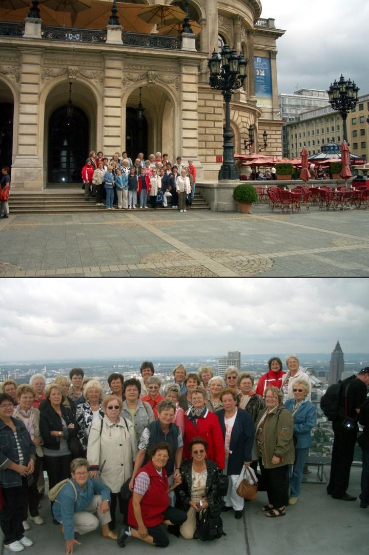 Der Frauenchor vor der Alten Oper (Bild oben) und auf dem Maintower (Bild unten)