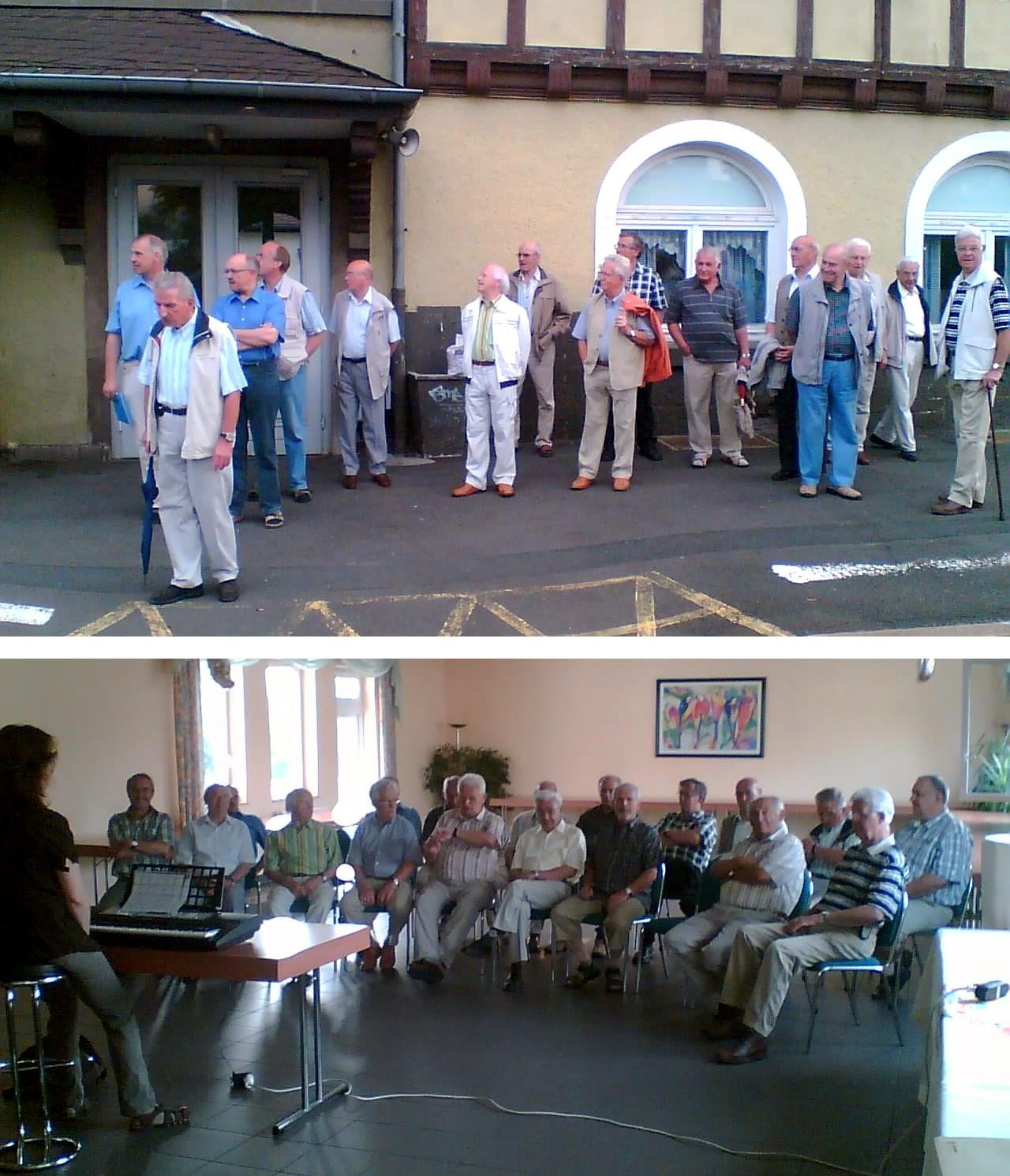 Die Fotos zeigen die Sänger der Sängervereinigung Eintracht-Germania bei der Abfahrt bzw. gemeinsam mit ihrer Chorleiterin Renate Schygulla beim Üben