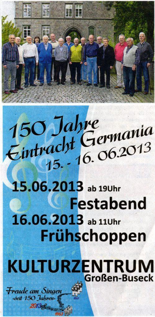 Chorleiterin Renate Schygulla (Vierte von links) inmitten der Sänger vor dem Busecker Schloss. Foto: Sängervereinigung Eintracht-Germania